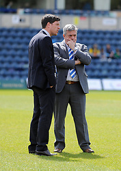 Bristol Rovers Manager, Darrell Clarke speaks with Nick Higgs before the game - Photo mandatory by-line: Dougie Allward/JMP - Mobile: 07966 386802 26/04/2014 - SPORT - FOOTBALL - High Wycombe - Adams Park - Wycombe Wanderers v Bristol Rovers - Sky Bet League Two