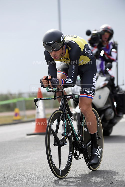 Thursday 7th September 2017: Team Lotto Jumbo rider, Lars Boom, set the fastest time in the Stage 5 ITT of the 2017 Tour of Britain cycle race. This result put him into the lead on the GC.