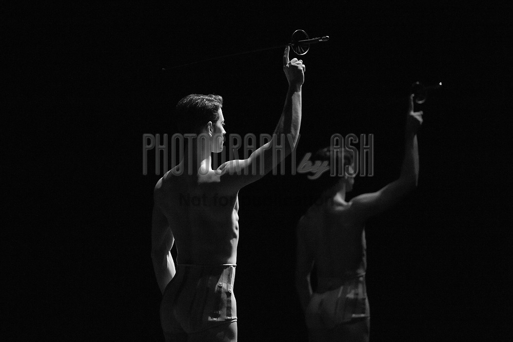 (L-R) James Forbat & Esteban Berlanga dance in 'Petite Mort' choreographed by Jiri Kylian during English National Ballet's 'Ecstasy & Death' triple bill at the London Coliseum Theatre, 20 April 2013. Photo: Amber Hunt