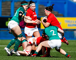 Siwan Lillicrap of Wales is tackled by Deirbhile Nic a Bhaird of Ireland <br /> <br /> Photographer Simon King/Replay Images<br /> <br /> Six Nations Round 5 - Wales Women v Ireland Women- Sunday 17th March 2019 - Cardiff Arms Park - Cardiff<br /> <br /> World Copyright © Replay Images . All rights reserved. info@replayimages.co.uk - http://replayimages.co.uk