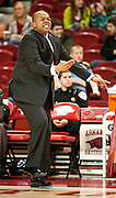Nov 26, 2011; Fayetteville, AR, USA; Grambling State Tigers head coach Bobby Washington reacts to a play during the second half of a game against the Arkansas Razorbacks at Bud Walton Arena.  Mandatory Credit: Beth Hall-US PRESSWIRE