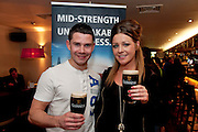 Richie O Brien, Wellpark and Celia Johnson, Newcastle attending the GUINNESS Mid-Strength Taste Test Tour. Guinness Master Brewer Fergal Murray and former Irish Rugby International Mick Galwey hosted the event, which featured a special Q&A on rugby and a Pour Your Pint Competition. .Full details are available on www.Facebook.com/Guinnessireland GUINNESS Mid-Strength has the unmistakable distinctive taste and is brewed in exactly the same way as GUINNESS, just with less alcohol at 2.8%...The GUINNESS word and associated logos are trademarks...Enjoy Guinness Sensibly...Visit www.drinkaware.ie..