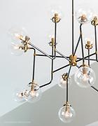 Lighting fixture custom chandelier in commercial building