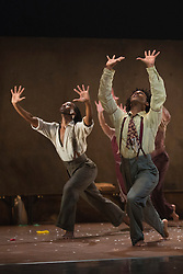 "© Licensed to London News Pictures. 22/10/2013. London, England. L-R: Mbulelo Ndabeni and Miguel Altunaga. Dance company Rambert perform the London premiere of ""The Castaways"", a new piece by Barak Marshall, at Sadler's Wells Theatre, 22-26 October 2013. Dancers: Miguel Altunaga, Kirill Burlov, Mbulelo Ndabeni, Adam Park,  Jon Savage, Stephen Wright, Kym Alexander, Antonette Dayrit, Julia Gillespie, Vanessa King, Estela Merlos and Hannah Rudd. Photo credit: Bettina Strenske/LNP"