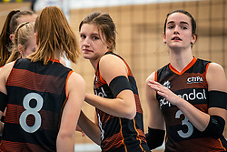 Hyke Lijklema of Talent Team, Nicole van de Vosse of Talent Team  in action during the first league match in the corona lockdown between Talentteam Papendal vs. Sliedrecht Sport on January 09, 2021 in Ede.