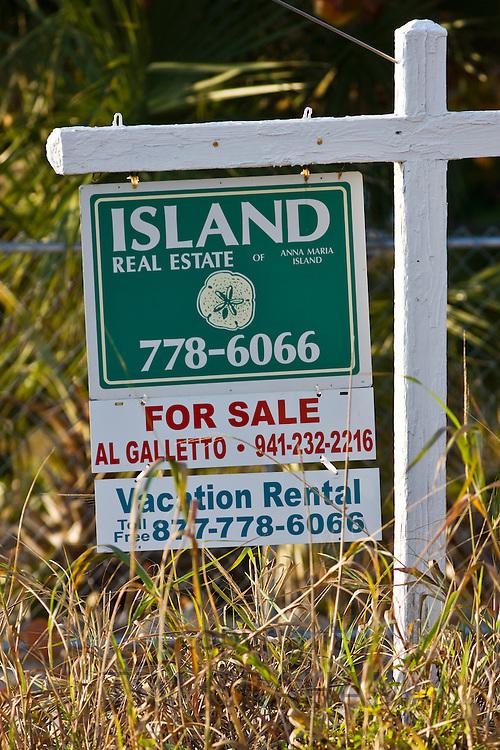 For Sale real estate sign Anna Maria Island, Florida, United States of America