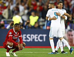 (L-R) Giorginio Wijnaldum of Liverpool FC, Real Madrid CF, Cristiano Ronaldo of Real Madrid CF during the UEFA Champions League final between Real Madrid and Liverpool on May 26, 2018 at NSC Olimpiyskiy Stadium in Kyiv, Ukraine