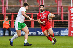 11th November 2018 , Racecourse Ground,  Wrexham, Wales ;  Rugby League World Cup Qualifier,Wales v Ireland ; Rhys Williams of Wales in action<br /> <br /> <br /> Credit:   Craig Thomas/Replay Images