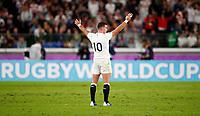 Rugby Union - 2019 Rugby World Cup - Semi-Final: England vs. New Zealand<br /> <br /> George Ford of England celebrates at International Stadium Yokohama, Kanagawa Prefecture, Yokohama City.<br /> <br /> COLORSPORT/LYNNE CAMERON