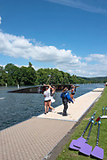 """Henley on Thames, United Kingdom, 21st June 2018, Thursday, Training day before the start of  """"Henley Women's Regatta"""", Competitors, boating, preparing or returning from training at the Fawley Meadow,boat area,  Henley Reach, Thames Valley, River Thames, England, © Peter SPURRIER"""