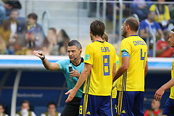 July 3, 2018 - Russia - July 03, 2018, St. Petersburg, FIFA World Cup 2018 Football, the playoff round. Football match of Sweden - Switzerland at the stadium of St. Petersburg. Player of the national team; Damir Skomina; the chief arbiter; judge. (Credit Image: © Russian Look via ZUMA Wire)