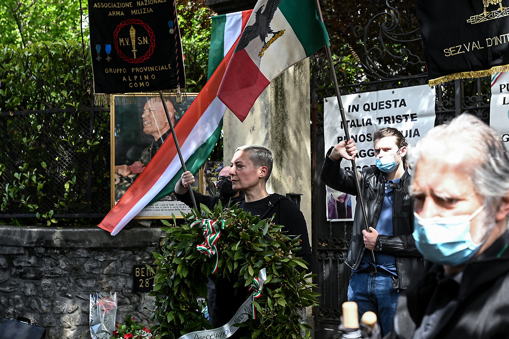 Far-right militants and fascist nostalgics commemorated yesterday with roman salutes the death of Benito Mussolini, his mistress Claretta Petacci and other fascist leaders in Dongo and Giulino di Mezzegra, Como, Italy. The National Association of Italy's Partisans and other anti-fascist groups and citizens counter protested at small distance divided by police in riot gear.