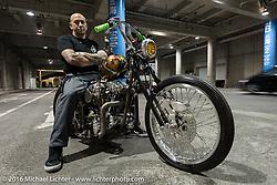 Andrew Parisi of Australia with his rigid frame Harley-Davidson custom Knucklehead after the Mooneyes Yokohama Hot Rod & Custom Show. Yokohama, Japan. December 4, 2016.  Photography ©2016 Michael Lichter.
