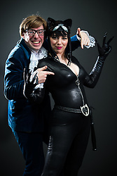 © Licensed to London News Pictures . 26/07/2015 . Manchester , UK . Portrait : AUSTIN POWERS & CAT WOMAN ( husband and wife Chris Stone , 31 , and Stephanie Stone , 29 , both from Stoke-on-Trent ) at the venue . Comic Con convention at Manchester Central Convention Centre . Photo credit : Joel Goodman/LNP