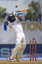 July 29, 2017 - Galle, Sri Lanka - Sri Lankan cricketer Niroshan Dickwella tries to play a shot during the 4th Day's play in the 1st Test match between Sri Lanka and India at the Galle cricket stadium, Galle, Sri Lanka on Saturday 29 July 2017. (Credit Image: © Tharaka Basnayaka/NurPhoto via ZUMA Press)