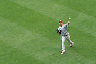Cole Hamels #35 of the Philadelphia Phillies warms up before a game against the Minnesota Twins on June 11, 2013 at Target Field in Minneapolis, Minnesota.  The Twins defeated the Phillies 3 to 2.  Photo: Ben Krause