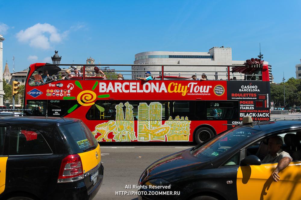 Barcelona city tour bus for tourists, Spain