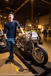 Jay Donovan with his incredible Baresteel Design custom 1976 XS650 with hand formed aluminum bodywork at the  Handbuilt Show. Austin, TX. USA. Friday April 20, 2018. Photography ©2018 Michael Lichter.
