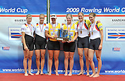 Lucerne, SWITZERLAND,  left, Silver medalist GER W2- , Gold medalist  NZL W2- right, Bronze, GBR W2-, Olivia WHITLAM and Louisa REEVE, Third round of the  2009 FISA World Cup,  Rotsee Regatta Course, Sunday  12/07/2009 [Mandatory Credit Peter Spurrier/ Intersport Images]
