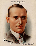 Robert Cedric (RC) Sherriff (1896-1975), English playwright, novelist and scriptwriter, born at Kingston upon Thames, Surrey.  Best known for his play 'Journey's End' (1929), an account of life in the trenches in World War I .  His film scripts include 'Goodbye Mr Chips' (1936) and 'The Dam busters' (1955).   From a series of cards of 'Famous British Authors' (London, 1937).