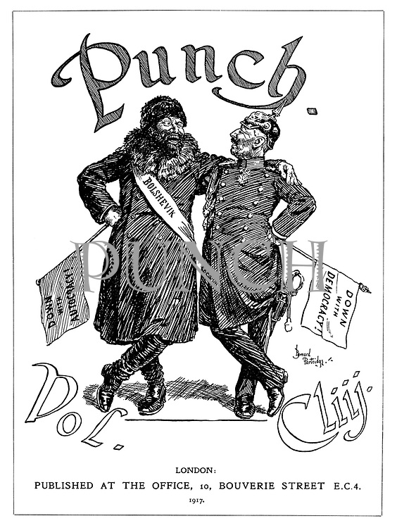 (Frontispiece to Punch, or the London Charivari, Vol. CLIII - Kaiser Wilhelm embraces a Russian Bolshevik)