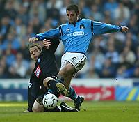 Photo Aidan Ellis.<br />Manchester City v Birmingham City. (Barclaycard Premiership). 16/03/2003.<br />Manchester's Kevin Horlock and Birmingham's Stephen Clemence