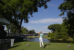 May 24, 2018 - Fort Worth, TX, USA - FORT WORTH, TX - MAY 24, 2018 - Jordan Spieth hits his tee shot to the par 3 13th hole during the first round of the 2018 Fort Worth Invitational PGA at Colonial Country Club in Fort Worth, Texas (Credit Image: © Erich Schlegel via ZUMA Wire)