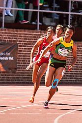 Penn Relays, USA vs the World, womens 4 x 200 meter relay, Morris, Jamaica vs. Lucas, USA, anchor leg