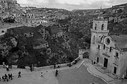 Matera, Italy and the deep ravine (La Gravina) below.