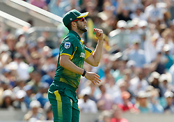 South Africa's Wayne Parnell celebrates catching out Sri Lanka's Niroshan Dickwella during the ICC Champions Trophy, Group B match at The Oval, London.