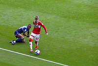 Middlesbrough's Hayden Coulson gets away from Wycombe Wanderers' Dennis Adeniran<br /> <br /> Photographer Alex Dodd/CameraSport<br /> <br /> The EFL Sky Bet Championship - Middlesbrough v Wycombe Wanderers - Saturday 8th May 2021 - Riverside Stadium - Middlesbrough<br /> <br /> World Copyright © 2021 CameraSport. All rights reserved. 43 Linden Ave. Countesthorpe. Leicester. England. LE8 5PG - Tel: +44 (0) 116 277 4147 - admin@camerasport.com - www.camerasport.com