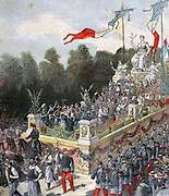 Natiional Festival celebrating the centenary of the proclamation of the French Republic. Float of Concord and Peace in parade through Paris on 22 September. From 'Le Petit Journal, Paris, 24 September 1892. France, Nationalism