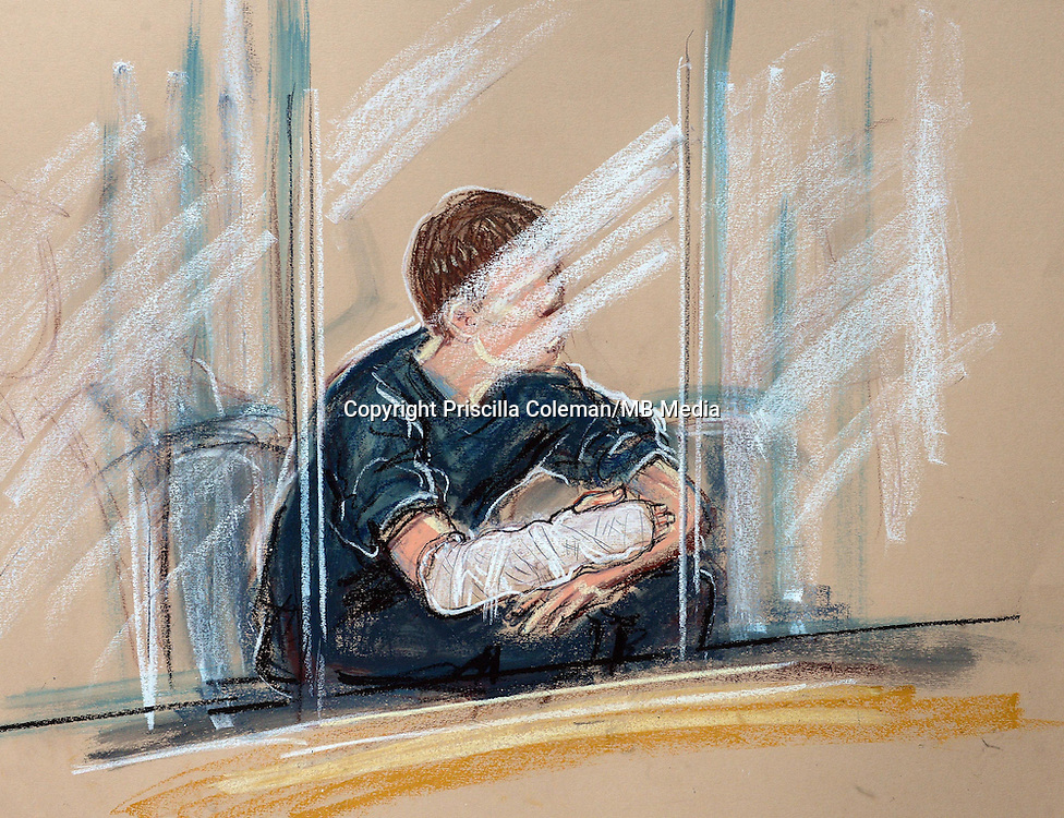 1st May 2014.. Leeds School Corpus Christi stabbing death story. Drawing by court artist Priscilla Coleman. The suspect in Leeds youth court this morning, who is accused of killing teacher Ann Maguire.