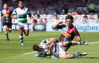 Rugby Union -2020/2021 Gallagher Premiership - Round 22 -<br />Harlequins vs Newcastle Falcons - The Stoop<br /><br />Marcus Smith and Adam Radwan collide