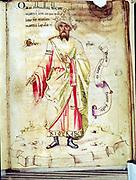 Jabir Ibn Hayyan, Abu Musa (c721-c815 - Al Jabir: Geber) Arab alchemist. Court physician to Harun al-Rashid. From manuscript in Biblioteca Medicea Laurensiana, Florence, Italy