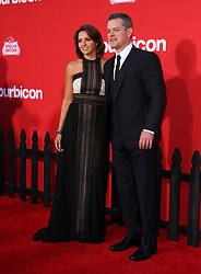 "22 October 2017 - Los Angeles, California - Luciana Barroso Damon and Matt Damon. ""Suburbicon"" Premiere held at the Regency Village Theatre in Los Angeles. Photo Credit: AdMedia"