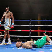 Cesar Francis knocks out Gonzalo Dallera during a One For All Promotions boxing event at the Caribe Royale Orlando Events Center on Saturday, February 20, 2021 in Orlando, Florida. (Alex Menendez via AP)