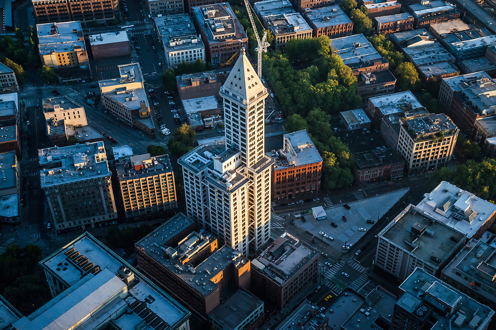 The Smith Tower in the Pioneer Square district of Seattle, Washington as seen from above.