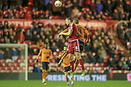 Ben Gibson (Middlesbrough) heads the ball during the Sky Bet Championship match between Middlesbrough and Wolverhampton Wanderers at the Riverside Stadium, Middlesbrough, England on 4 March 2016. Photo by Mark P Doherty.