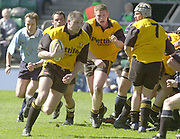 © Peter Spurrier / Sportsbeat images<br /> email images@sportsbeat.co.uk - Tel +44 208 876 8611<br /> Photo Peter Spurrier 05/04/03<br /> 2003 - Powergen- Rugby Union - Junior Vase<br /> Old Alleynians v Shipston-on-Stour<br /> Sam Rainbow