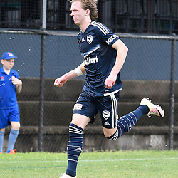 BRISBANE, AUSTRALIA - NOVEMBER 12: Lucas Derrick of the Victory celebrates scoring a goal during the round 1 Foxtel National Youth League match between the Brisbane Roar and Melbourne Victory at Spencer Park on November 12, 2016 in Brisbane, Australia. (Photo by Patrick Kearney/Brisbane Roar)