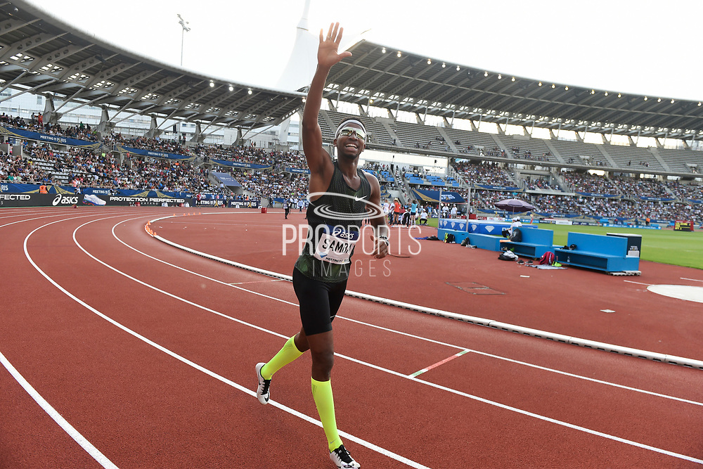 Abderrahman Samba (QAT) celebrates his World record in Men's 400m Hurdles during the Meeting de Paris 2018, Diamond League, at Charlety Stadium, in Paris, France, on June 30, 2018 - Photo Jean-Marie Hervio / KMSP / ProSportsImages / DPPI