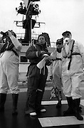 Irish rock group U2 (Bono, The Edge, Adam Clayton and Larry Mullen Jr.) photographed at Greenpeace protest at the Sellafield Nuclear Plant in June 1992.