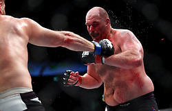 10.04.2016, Arena, Zagreb, CRO, UFC Fight Night, im Bild Timothy Johnson vs. Marcin Tybura. // during the UFC Fight Night at the Arena in Zagreb, Croatia on 2016/04/10. EXPA Pictures © 2016, PhotoCredit: EXPA/ Pixsell/ Slavko Midzor<br /> <br /> *****ATTENTION - for AUT, SLO, SUI, SWE, ITA, FRA only*****