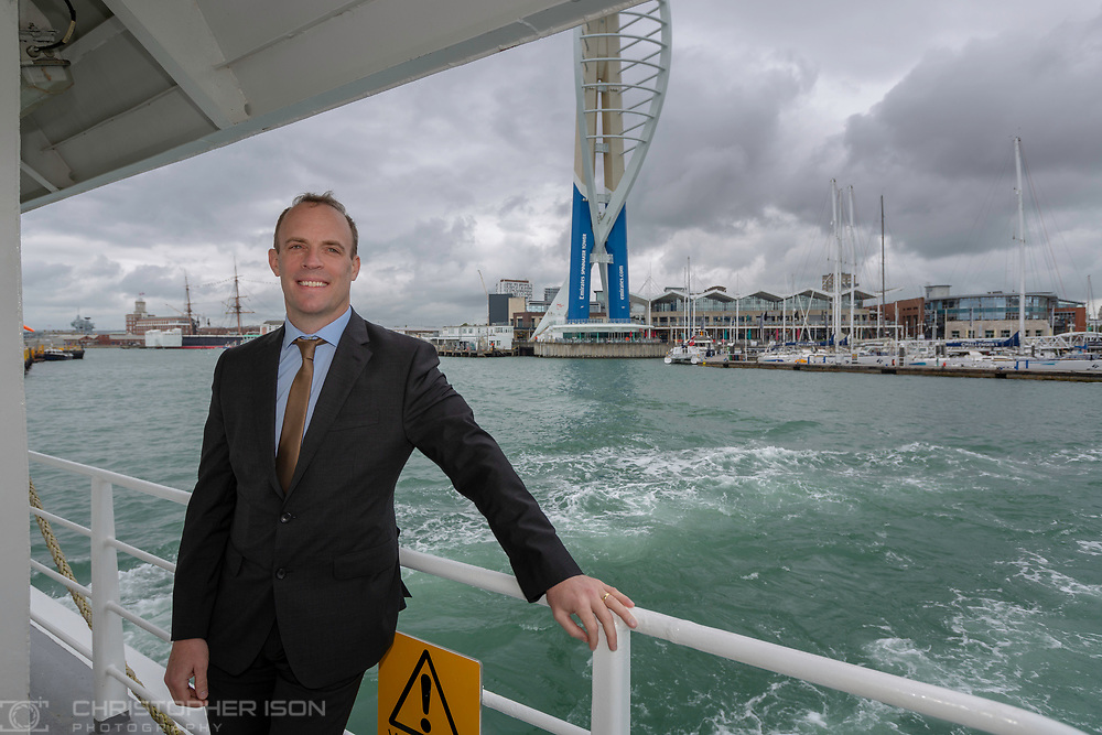 Conservative Party leadership candidate Dominic Raab MP pictured on the ferry from Portsmouth to Ryde on the Isle of Wight today for The Daily Telegraph.<br /> Picture date: Friday June 14, 2019.<br /> Photograph by Christopher Ison ©<br /> 07544044177<br /> chris@christopherison.com<br /> www.christopherison.com