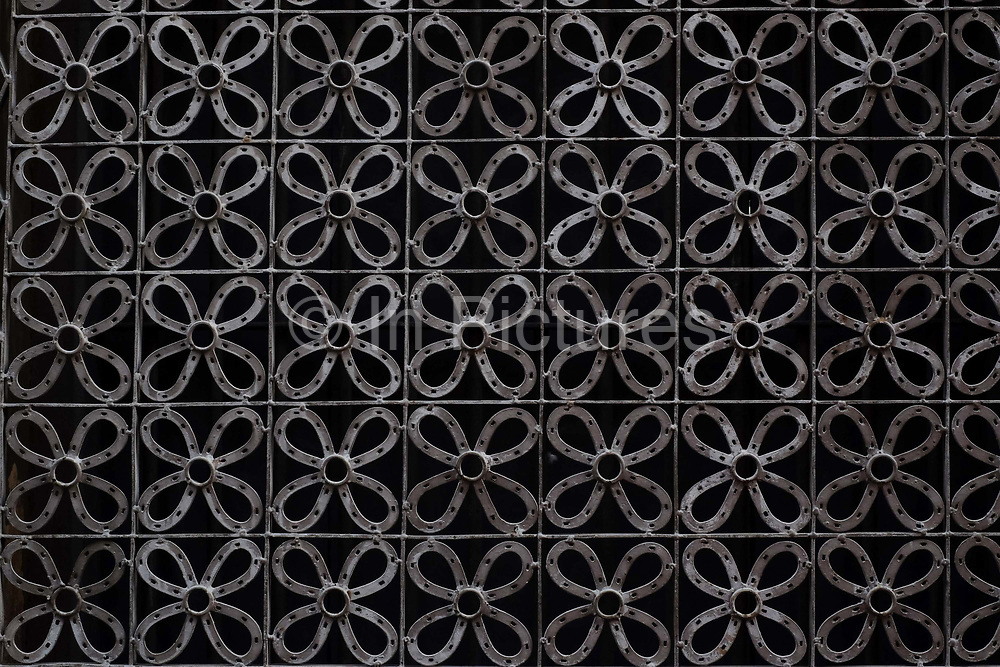A decorative metal grid in Mandalay on 24th May 2016 in Myanmar