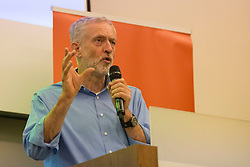 © Licensed to London News Pictures. 25/08/2015. Southampton, UK.  Jeremy Corbyn delivers a speech at a rally held in the Hilton at the Ageas Bowl in Southampton after rumours for a Labour split.