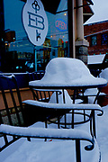Fifth Avenue, West Reading, winter snow and shops