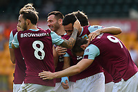Football - 2019 / 2020 Premier League - Norwich City vs. Burnley<br /> <br /> Burnley's Chris Wood congratulated after scoring the opening goal, at Carrow Road.<br /> <br /> COLORSPORT/ASHLEY WESTERN