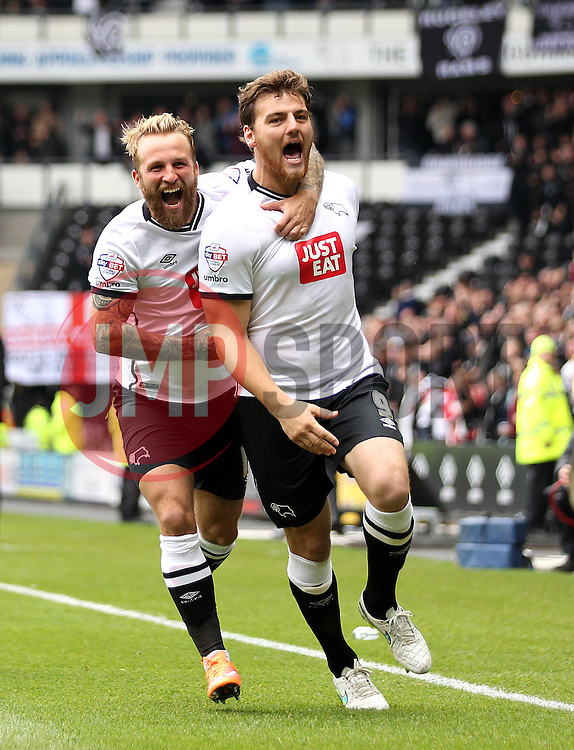 Chris Martin of Derby County celebrates scoring the opening goal with Johnny Russell of Derby County - Mandatory byline: Robbie Stephenson/JMP - 07966 386802 - 18/10/2015 - FOOTBALL - iPro Stadium - Derby, England - Derby County v Wolverhampton Wanderers - Sky Bet Championship